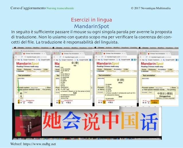 Corso d'aggiornamento Nursing transculturale © 2017 Novantiqua Multimedia Esercizi in lingua MandarinSpot In seguito è...