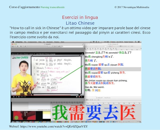 """Corso d'aggiornamento Nursing transculturale © 2017 Novantiqua Multimedia Esercizi in lingua Litao Chinese """"How to cal..."""
