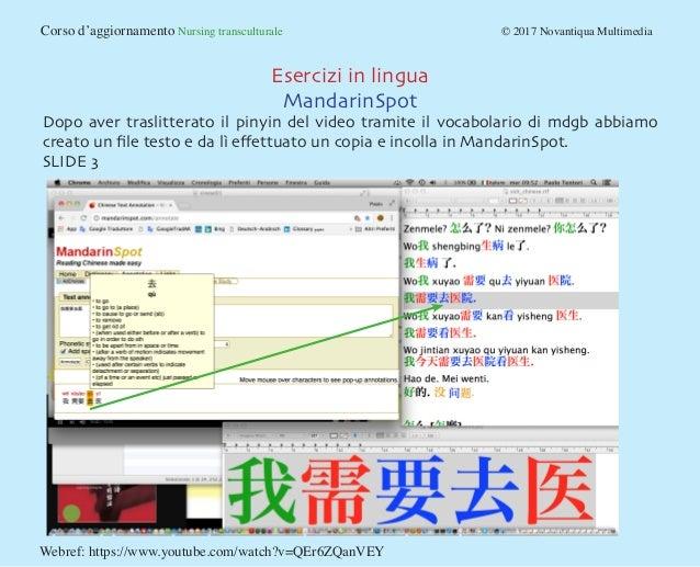 Corso d'aggiornamento Nursing transculturale © 2017 Novantiqua Multimedia Esercizi in lingua MandarinSpot Dopo aver tr...