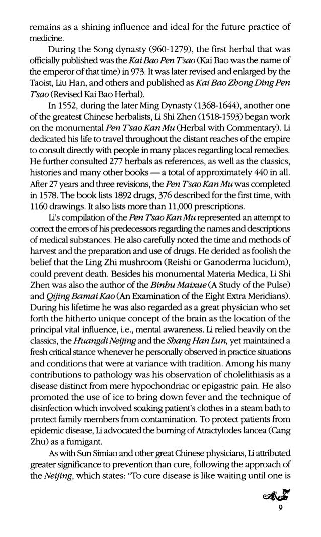 the Pen T'sao Kan Mu Shi Yi (Herbs Not Listed in the Pen T'sao Cao Kang Mu). During this period European influence gradual...
