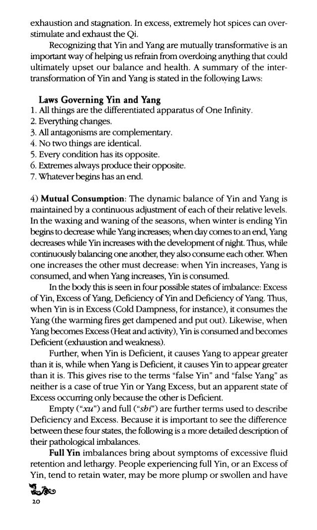 Similarly, a Deficiency ofYang has similarsymptoms to an Excess of Yin, but because each originates from a different point...