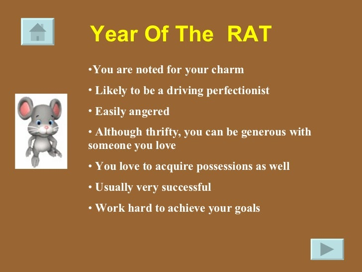 Year Of The  RAT <ul><li>You are noted for your charm </li></ul><ul><li>Likely to be a driving perfectionist </li></ul><ul...