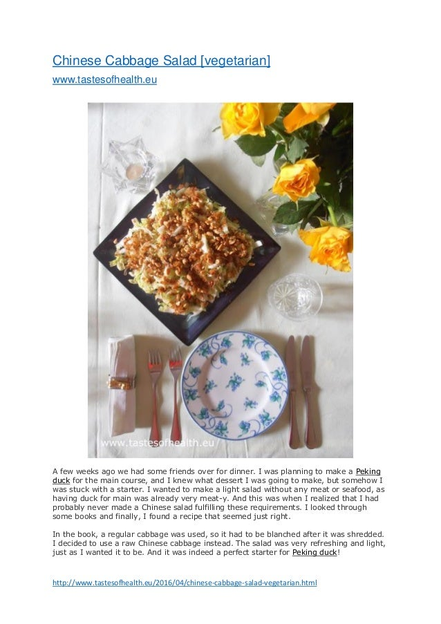 http://www.tastesofhealth.eu/2016/04/chinese-cabbage-salad-vegetarian.html Chinese Cabbage Salad [vegetarian] www.tastesof...