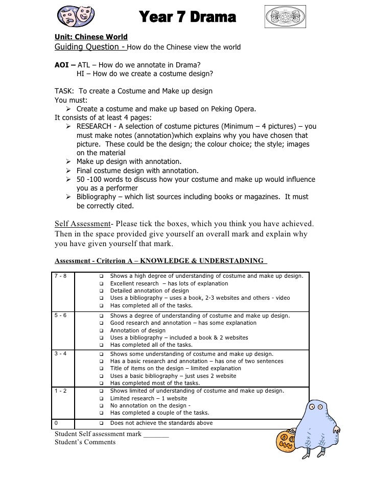 Unit: Chinese World Guiding Question - How do the Chinese view the world  AOI – ATL – How do we annotate in Drama?      HI...