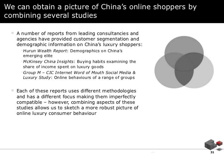 We can obtain a picture of China's online shoppers bycombining several studies •   A number of reports from leading consul...