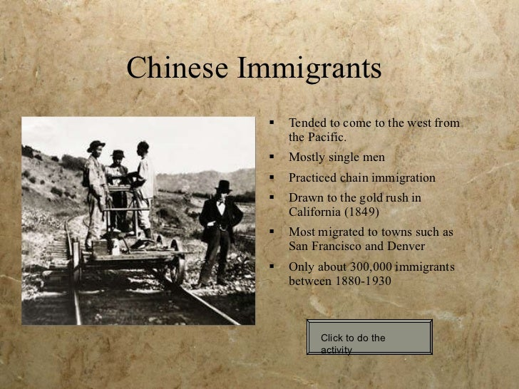 essay on chinese immigration Anti-chinese immigration laws in canada, 1885-1967 1885-1923: chinese head tax read excerpts from these head tax laws below: an act to restrict and regulate chinese.