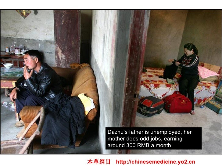 Dazhu's father is unemployed, her mother does odd jobs, earning around 300 RMB a month 本草纲目  http://chinesemedicine.yo2.cn