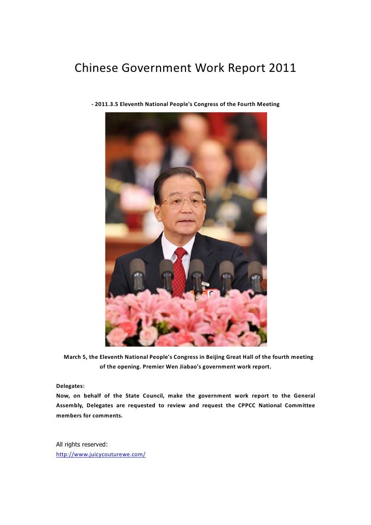 Chinese Government Work Report 2011             - 2011.3.5 Eleventh National Peoples Congress of the Fourth Meeting  March...