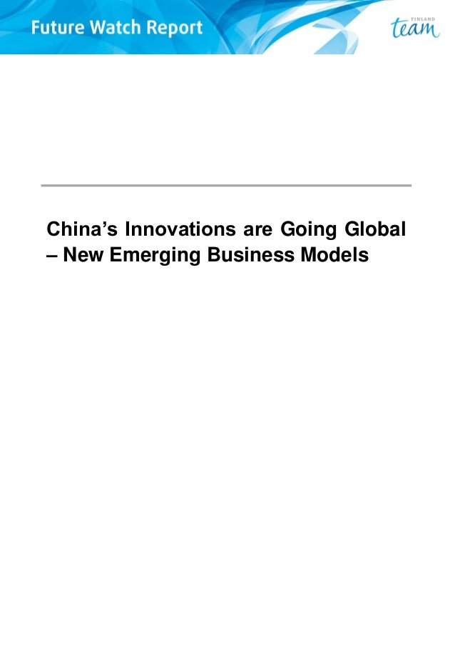 China's Innovations are Going Global – New Emerging Business Models