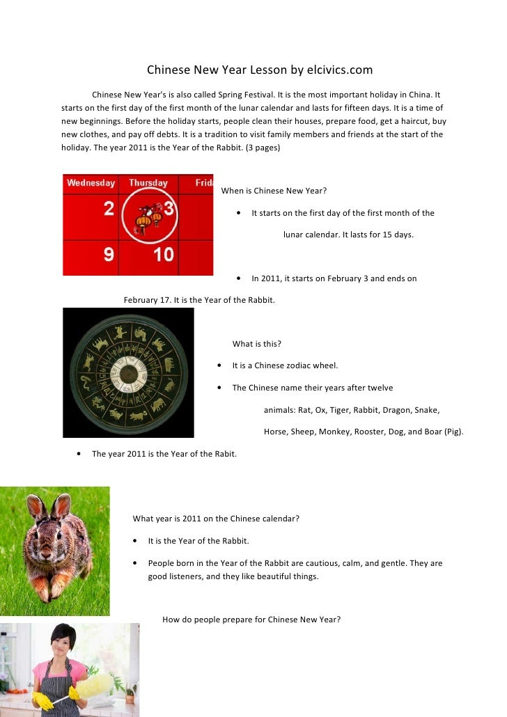 Chinese New Year Lesson by elcivics.com        Chinese New Years is also called Spring Festival. It is the most important ...
