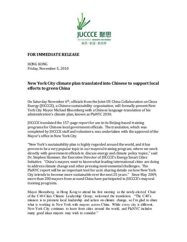 FOR IMMEDIATE RELEASE HONG KONG Friday, November 5,, 2010 New YorkCity climate plan translatedinto Chinese to support loca...