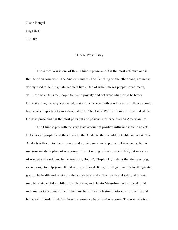 chinese prose essay jpg cb  justin bengel english 10 11 8 09 chinese prose essay the art of war