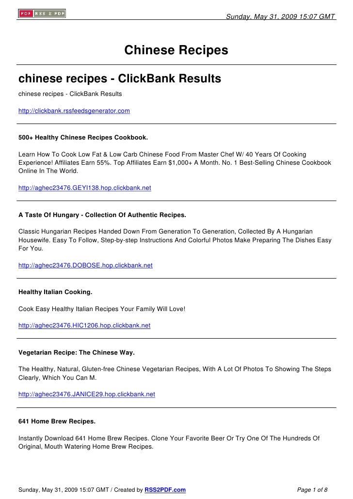 Sunday, May 31, 2009 15:07 GMT                                           Chinese Recipes  chinese recipes - ClickBank Resu...