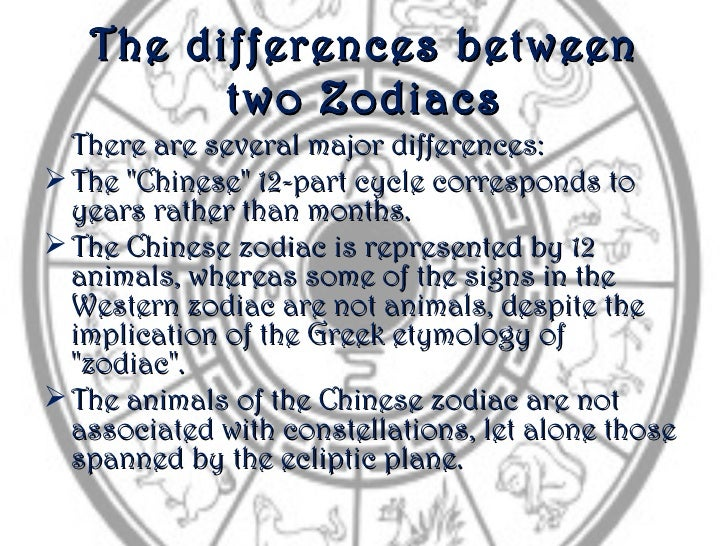 """The differences between         two Zodiacs  There are several major differences: The """"Chinese"""" 12-part cycle corresponds..."""