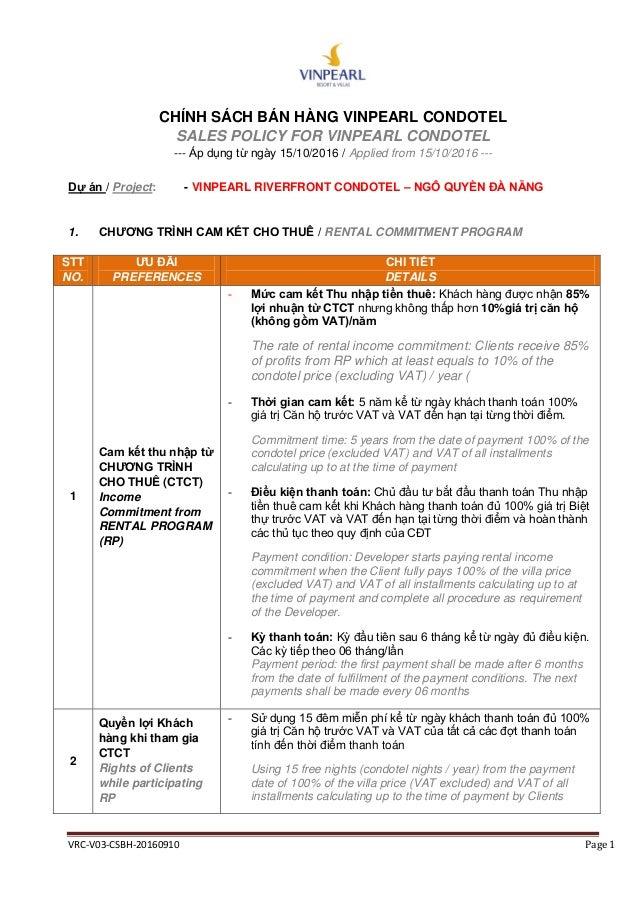 VRC-V03-CSBH-20160910 Page 1 CHÍNH SÁCH BÁN HÀNG VINPEARL CONDOTEL SALES POLICY FOR VINPEARL CONDOTEL --- Áp dụng từ ngày ...