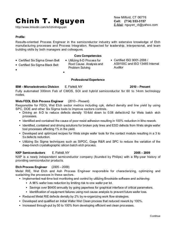 Chinh T. Nguyen ...  Process Engineer Resume