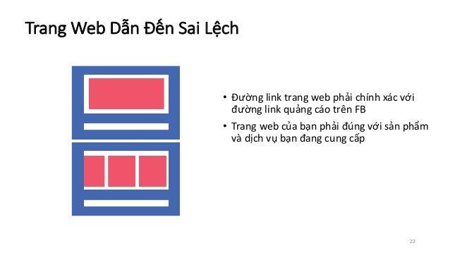 22 • Đường linktrang webphải chính xác với đường linkquảng cáo trên FB • Trangwebcủa bạn phải đúng với sản phẩm và dị...