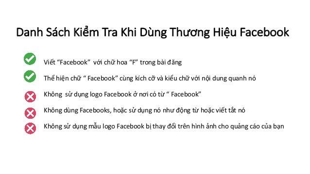 """Danh SáchKiểm Tra Khi Dùng Thương Hiệu Facebook Viết""""Facebook""""vớichữhoa""""F""""trongbàiđăng Thểhiệnchữ""""Facebook""""..."""