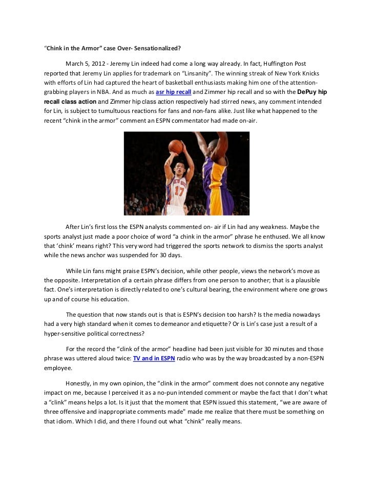 """Chink in the Armor"" case Over‐ Sensationalized?           March 5, 2012 ‐ Jeremy Lin indeed had come a long way already. ..."