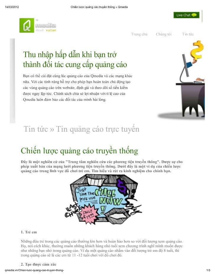 Chiến lược quảng cáo truyền thống » qmedia
