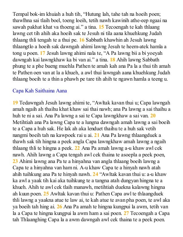 Chin matu bible gospel of john