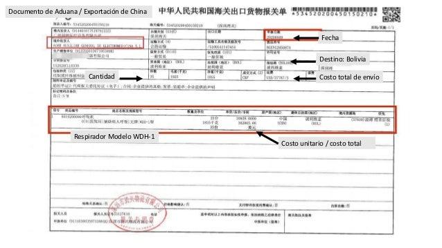 Fecha Cantidad Costo unitario / costo total Destino: Bolivia Respirador Modelo WDH-1 Costo total de env�o Documento de Adu...