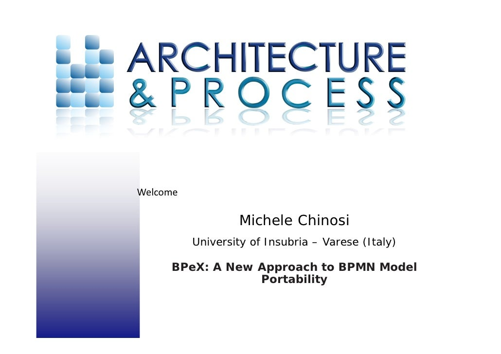 Welcome                     Michele Chinosi            University of Insubria – Varese (Italy)        BPeX: A New Approac...