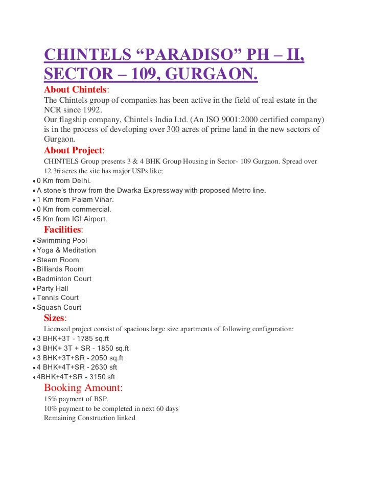 """CHINTELS """"PARADISO"""" PH – II,  SECTOR – 109, GURGAON.  About Chintels:  The Chintels group of companies has been active in ..."""