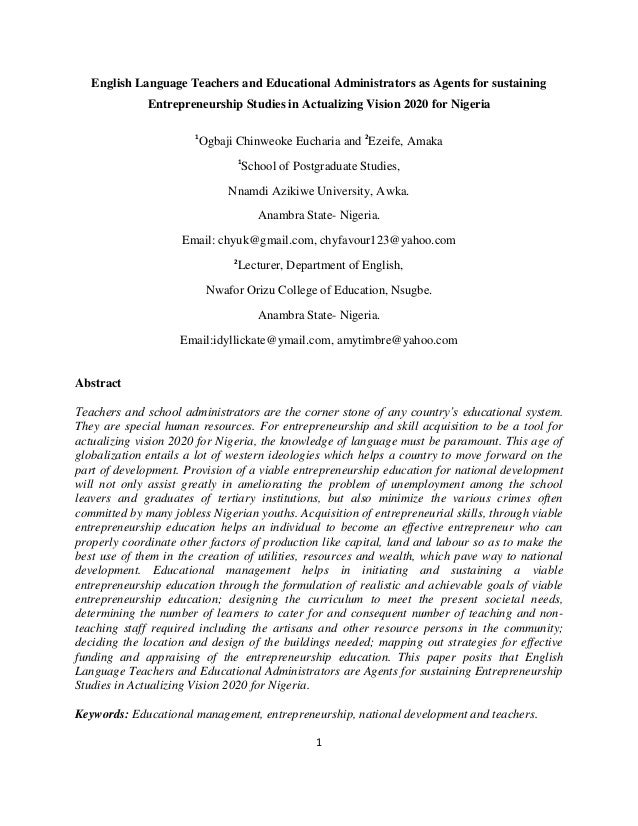 English Language Teachers and Educational Administrators as Agents for sustaining              Entrepreneurship Studies in...