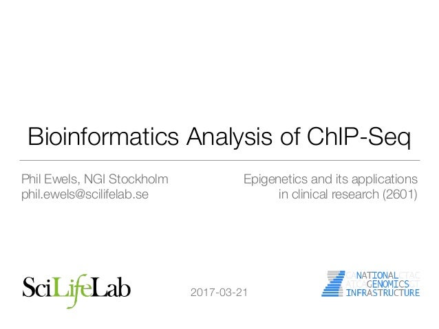 Bioinformatics Analysis of ChIP-Seq Phil Ewels, NGI Stockholm phil.ewels@scilifelab.se Epigenetics and its applications in...