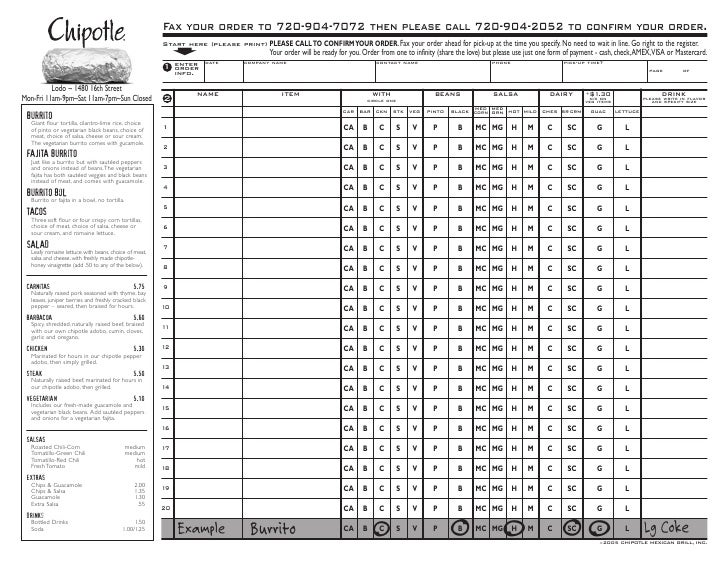 photo regarding Chipotle Menu Printable known as Chipotle Fax