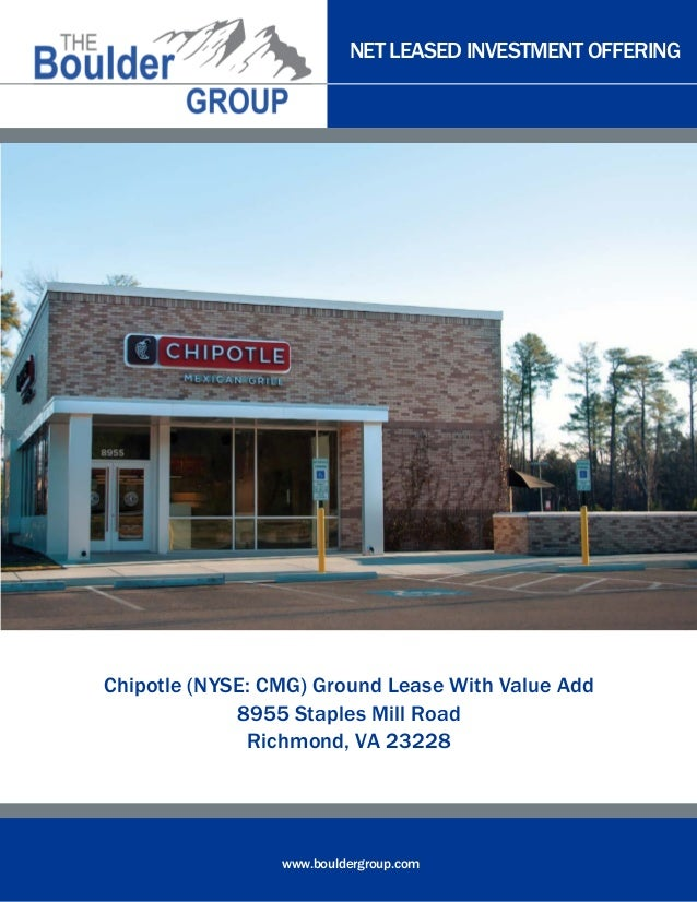 NET LEASED INVESTMENT OFFERING  Chipotle (NYSE: CMG) Ground Lease With Value Add 8955 Staples Mill Road Richmond, VA 23228...