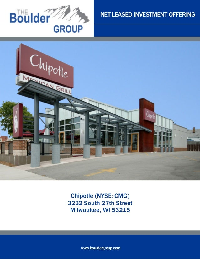 NET LEASED INVESTMENT OFFERING  Chipotle (NYSE: CMG) 3232 South 27th Street Milwaukee, WI 53215  www.bouldergroup.com