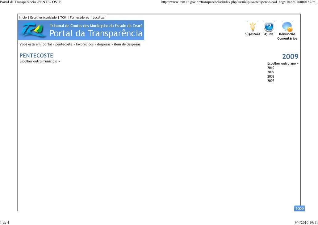 Portal da Transparência -PENTECOSTE                                                        http://www.tcm.ce.gov.br/transp...