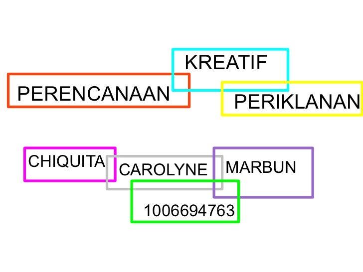 KREATIFPERENCANAAN         PERIKLANANCHIQUITA CAROLYNE   MARBUN          1006694763