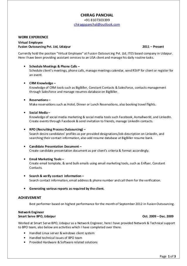 Outlook resume