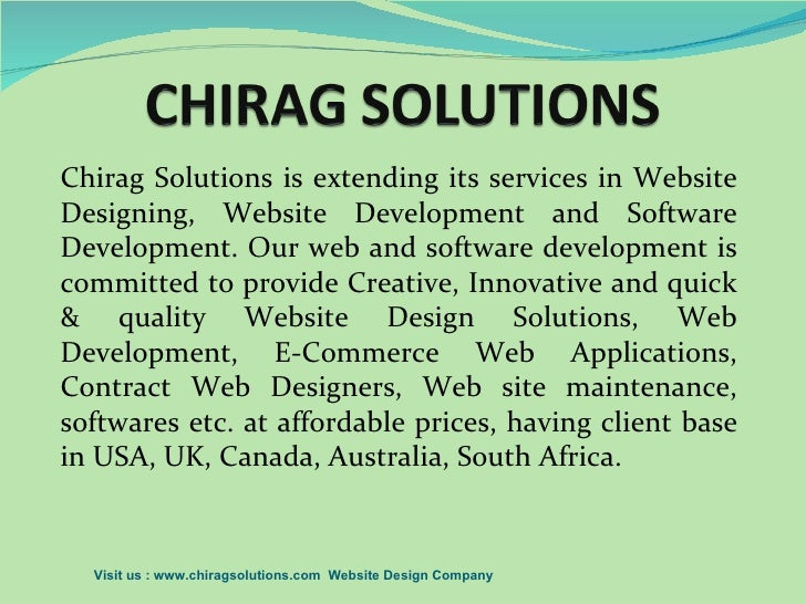 Chirag Solutions is extending its services in WebsiteDesigning, Website Development and SoftwareDevelopment. Our web and s...
