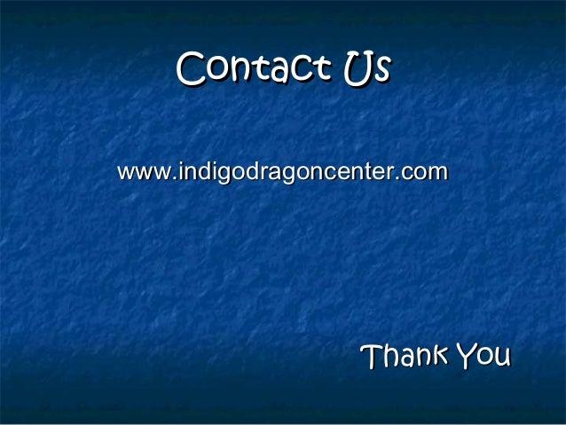 Contact UsContact Us www.indigodragoncenter.comwww.indigodragoncenter.com Thank YouThank You