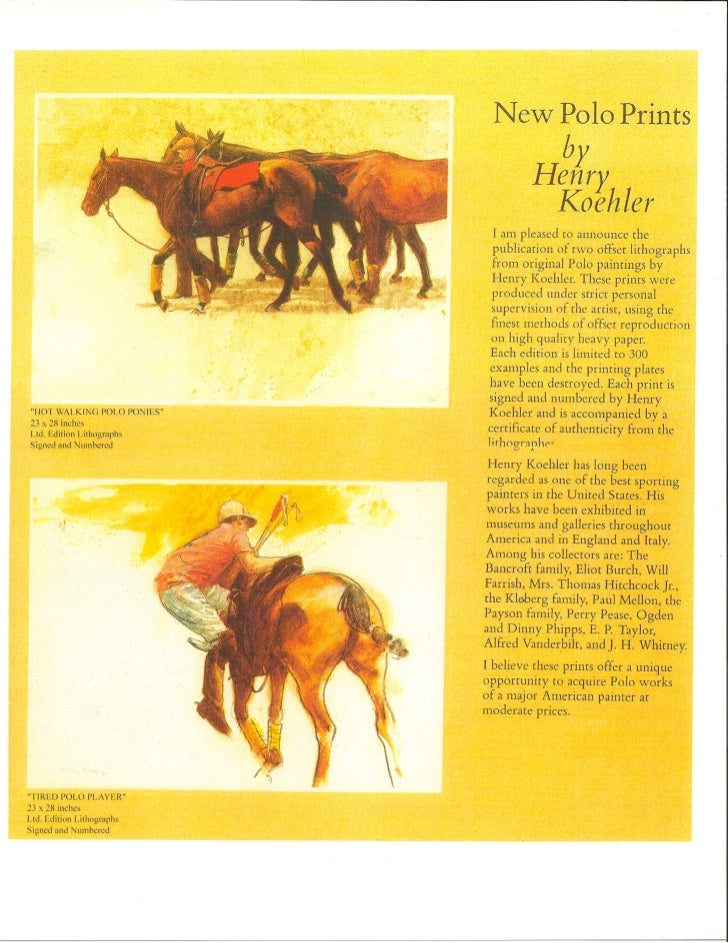 Chisholm gallery henry koehler_ltd_edition_polo_lithographs