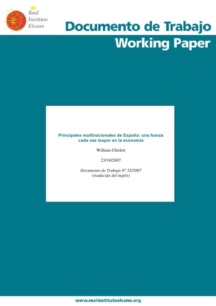 Principales multinacionales de España: una fuerza           cada vez mayor en la economía                    William Chisl...