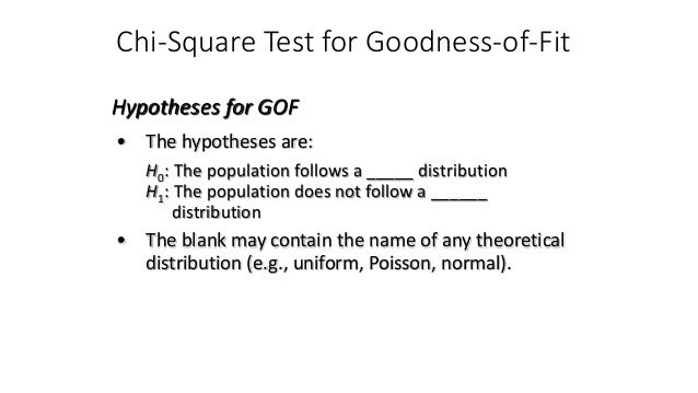 Chi-Square Test for Goodness-of-Fit • The hypotheses are: H0: The population follows a _____ distribution H1: The populati...