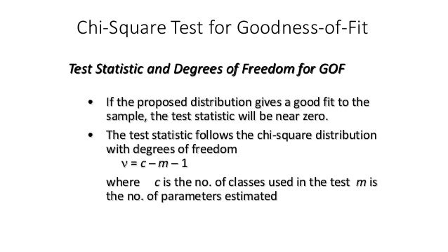 Chi-Square Test for Goodness-of-Fit • If the proposed distribution gives a good fit to the sample, the test statistic will...