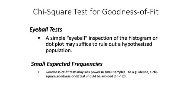 """Chi-Square Test for Goodness-of-Fit • A simple """"eyeball"""" inspection of the histogram or dot plot may suffice to rule out a..."""