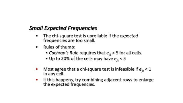 • The chi-square test is unreliable if the expected frequencies are too small. • Rules of thumb: • Cochran's Rule requires...