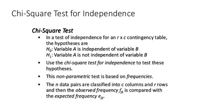 Chi-Square Test for Independence • In a test of independence for an r x c contingency table, the hypotheses are H0: Variab...
