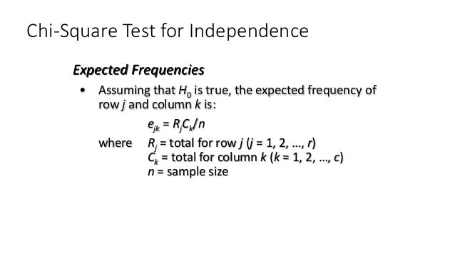 Chi-Square Test for Independence • Assuming that H0 is true, the expected frequency of row j and column k is: ejk = RjCk/n...