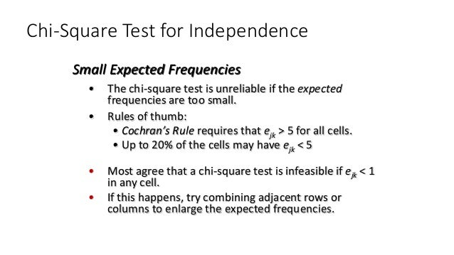 Chi-Square Test for Independence • The chi-square test is unreliable if the expected frequencies are too small. • Rules of...