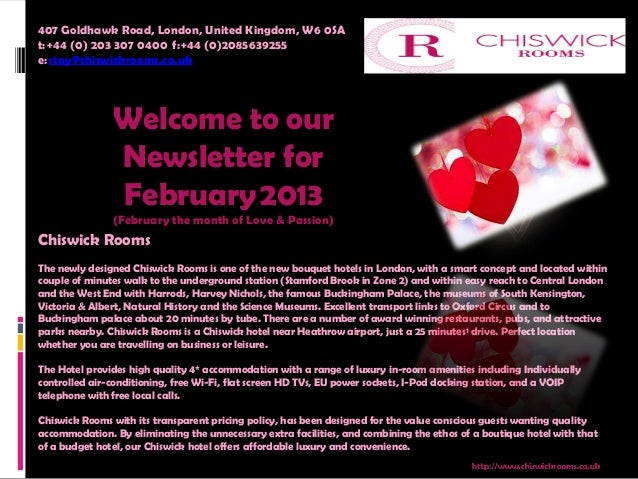 407 Goldhawk Road, London, United Kingdom, W6 0SAt:+44 (0) 203 307 0400 f:+44 (0)2085639255 e:stay@chiswickrooms.co....