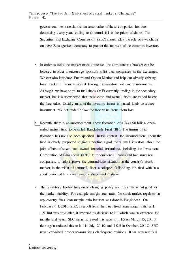 term paper upon carry current market around bangladesh
