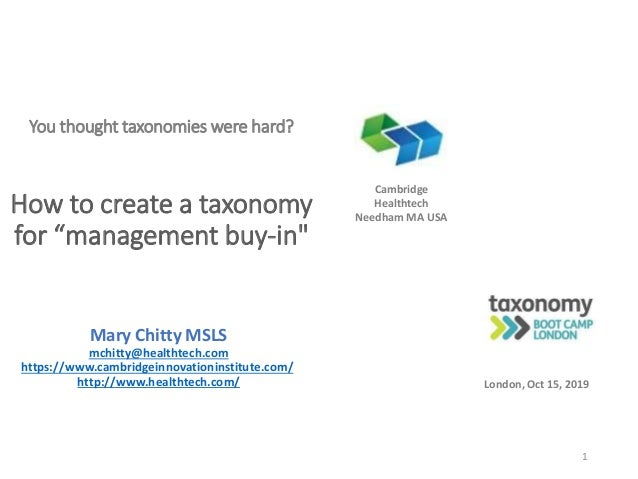 """You thought taxonomies were hard? How to create a taxonomy for """"management buy-in"""" Mary Chitty MSLS mchitty@healthtech.com..."""